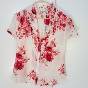 WHBM 100% silk white floral ruffle blouse
